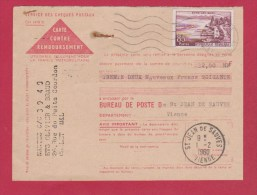 CONTRE REMBOURSEMENT  // POUR  ST JEAN DE SAUVES  // 1/2/1960 - Documents Of Postal Services