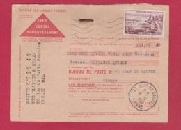 CONTRE REMBOURSEMENT  // POUR  ST JEAN DE SAUVES  // 8/1/1960 - Documents Of Postal Services