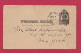 USA  //  ENTIER POSTAL  POUR NEW YORK  // - 1901-20