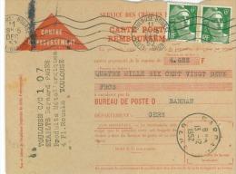Lot De  6 Cartes Postale De  Remboursement  Bureau De Barran Gers  Timbres Divers 1951 à 1952 - France