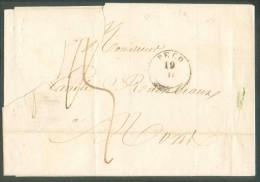 LAC De PECQ Le 19-II 1845 Vers Mons. Port ´3´ Décimes. - 9977 - 1830-1849 (Belgique Indépendante)