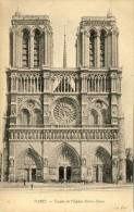 CPA -  PARIS,  Façade De L´Église Notre Dame  - 2 Scans - Notre Dame De Paris
