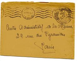 PARIS 34 Env. En FM Du 14/06/1945 Cachet MINISTERE DE LA MARINE Magasin Central - Marcophilie (Lettres)