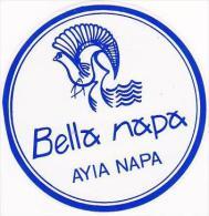CYPRUS AYIA NAPA BELLA NAPA HOTEL VINTAGE LUGGAGE LABEL