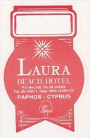 CYPRUS PAPHOS LAURA BEACH HOTEL VINTAGE LUGGAGE LABEL