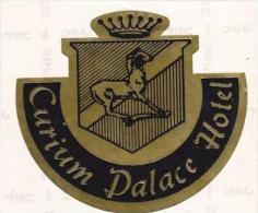 CYPRUS LIMASSOL CURIUM PALACE HOTEL VINTAGE LUGGAGE LABEL