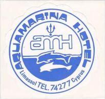 CYPRUS LIMASSOL AQUAMARINA HOTEL VINTAGE LUGGAGE LABEL