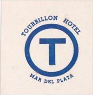 ARGENTINA MAR DEL PLATA TOURBILLON HOTEL VINTAGE LUGGAGE LABEL
