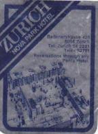SWITZERLAND ZURICH NOVA PARK HOTEL VINTAGE LUGGAGE LABEL