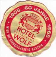 AUSTRIA WIEN HOTEL WOLF VINTAGE LUGGAGE LABEL