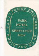 GERMANY KREFELD PARK HOTEL KREFELDER HOF VINTAGE LUGGAGE LABEL