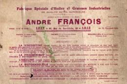 59 - LILLE - BUVARD ANDRE FRANCOIS -48 RUE DU BAS LIEVIN- FABRIQUE HUILES GRAISSES INDUSTRIELLES - Buvards, Protège-cahiers Illustrés