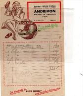 63 - MONTAIGUT EN COMBRAILLES - FACTURE ANDRIVON  DROGUERIE VERNIS- CIRAGE LION NOIR - 1950 - 1950 - ...