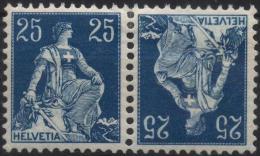 SUISSE HELVETIA SCHWEIZ Poste 120a * MLH Helvétia Assise Croix Tête-bêche Se Tenant (CV 27,50 €) - Se-Tenant