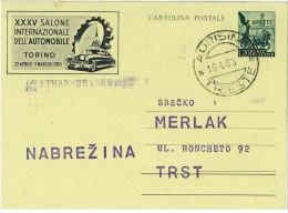 TRIESTE A - INTERI POSTALI - XXXV SALONE AUTO TORINO ANNO 1953 - ANNULLO TRIESTE AURISINA - C21 FILAGR. - 7. Triest