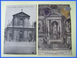 75 PARIS  2 Cpa Eglise Notre Dame Des Victoire* Facade + Interieur 1 Avec Cachet Et Médaille Souvenir 1860?? - Other Monuments