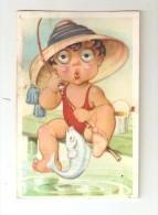 """CPA Système : Illustration D'un Enfant En Train De Pêcher Dont Les Yeux En Plastique """" Tournent"""" - A Systèmes"""