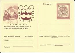 AUSTRIA ENTERO POSTAL JUEGOS OLIMPICOS INVIERNO INNSBRUCK 1976 BIATHLON - Invierno 1976: Innsbruck