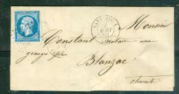 YVERT N°14 Type 1 Sur LSC Oblitéré Cad Barbezieux Et Petits Chiffres 251 - Aw10601 - Postmark Collection (Covers)