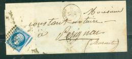 YVERT N°14 Type 1 Sur LSC Oblitéré  Petits Chiffres 2221 ( Nantes En 1860 )  - Aw10603 - Postmark Collection (Covers)