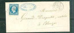 YVERT N°14 Type 1 Sur LSC Oblitéré  Petits Chiffres 251  Barbezieux  ( Charentes ) En 1858 - Aw10605 - Postmark Collection (Covers)