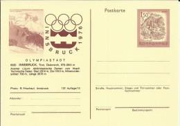 AUSTRIA ENTERO POSTAL JUEGOS OLIMPICOS INVIERNO INNSBRUCK 1976 - Invierno 1976: Innsbruck
