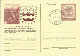 AUSTRIA ENTERO POSTAL JUEGOS OLIMPICOS INVIERNO INNSBRUCK 1976 MAT INNSBRUCK - Invierno 1976: Innsbruck