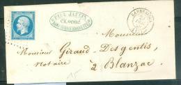 Yvert N°14 Type  1 Sur Lsc  Oblitéré Petits Chiffres  251 ( Barbezieux ) En 1858 - Aw10701 - Postmark Collection (Covers)