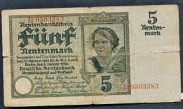 "* R1* 5 RentenMark  "" ALLEMAGNE ""  02 Janvier 1926 VF Pik 169       Bc 5 - [ 3] 1918-1933 : Repubblica  Di Weimar"