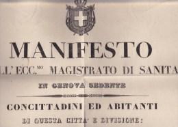 LIGURIA //  Magistrato Di Sanità In Genova  ... Il Cholera .... Bobbio, Chiavari, Novi... - Affiches