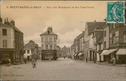76 NEUFCHATEL EN BRAY / La Place Des Boucheries Et La Rue Saint-Pierre / CARTE GLACEE - Neufchâtel En Bray