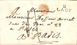 AISNE - LAC Avec MP   2 LAON (22x10) De 1819 - Postmark Collection (Covers)
