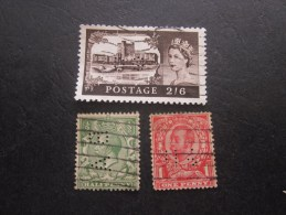 3 Timbres: UK  England Royaume Uni Great Gritain  Perforé Perforés Perfin Perfins Stamp Perforated PERFORE  >Trés Bie - Great Britain