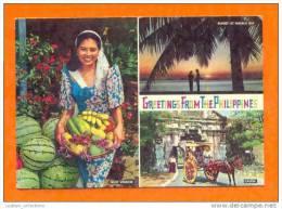 ..... CARTE POSTALE POSTCARD & Stamp PHILIPPINES Girl Fruit Seller Sunset & Horse - Philippines