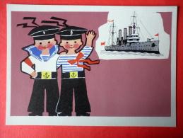 Illustration By E. Rapoport - Battleship Aurora - Little Seafarers - 1971 - Russia USSR - Unused - Boten
