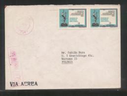 POLAND 1982 AIRMAIL LETTER MONTEVIDEO URUGUAY TO WARSZAWA OCENZUROWANO CENSORED PINK CACHETS CENSOR STATION 682 - 1944-.... República