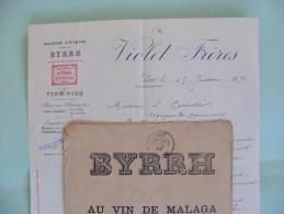 Facture + Lettre à En Tête Illustrée + Enveloppe 1893 - Thuir (66) - Violet Frères : Maison BYRRH , Vin De Malaga - 1800 – 1899