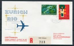 1968 Schaan Registered Lufthansa Zurich - Rio De Janeiro Brazil First Flight Cover - Liechtenstein