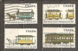 USA. Scott # 2059-62 Used. Streetcars 1983 - Usati