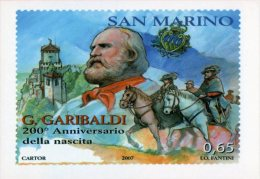 [DC1069] CARTOLINEA - RIPRODUZIONE FRANCOBOLLO SAN MARINO - 200° ANNIVERSARIO NASCITA GIUSEPPE GARIBALDI (1 DI 3) - Storia