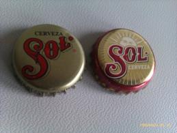 Lote 2 Chapas Kronkorken Caps Tappi Cerveza Sol. Méjico - Bier