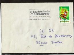 SEUL / LETTRE 3204 FLAMME   83  TOULON  R.P. - Marcophilie (Lettres)