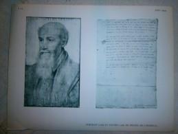 FEUILLE   PORTRAIT 1566 ET LETTRE  1568 DE MICHEL DE L HOSPITAL   DIM 31 X 24 CM - Vieux Papiers