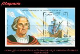 CUBA MINT. 1992-16 EXPOSICIÓN FILATÉLICA GÉNOVA 92. MARINOS CÉLEBRES. HOJA BLOQUE - Cuba