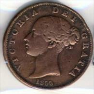 MONNAIE ANGLAISE   VICTORIA  JEUNE 1855 #  1/2  HALF DEMI PENNY # - 1816-1901 : Frappes XIX° S.