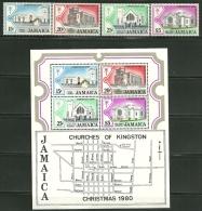 """Jamaica     """"Christmas 1980-Churches""""    Set & Souv. Sheet    SC# 491-94a   MNH** - Jamaica (1962-...)"""