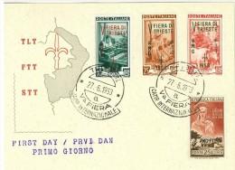 TRIESTE A - CARTOLINA  FDC  - V FIERA TRIESTE  ANNO 1953 - ANNULLO  TRIESTE - Storia Postale