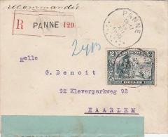 BELGIQUE Lettre Reco PANNE 1915 Censurée > Haarlem