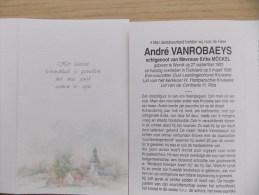 Doodsprentje André Vanrobaeys Wervik 27/9/1923 Duitsland 5/3/1996 ( Erika Möckel ) - Religione & Esoterismo