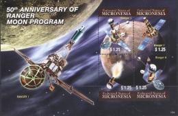 Micronesia 2012 50th Ann. Of Ranger Moon Program Space SS MNH - Micronesia